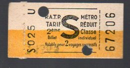 (Paris) Ticket De Métro S (PPP3657) - Metropolitana