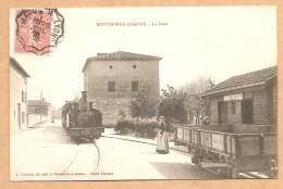 RARE - TRES BELLE C.P.A - MONTMERLE Sur SAONE - La Gare -- TRAIN - TRAMWAY - GARE - LOCOMOTIVE -  Voyagée 1906 - France