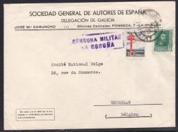 España 1938. Carta De La SGAE En La Coruña A Bruselas. Pro Tuberculosos. Censura. - Marcas De Censura Nacional