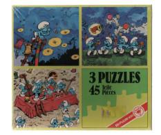 Schtroumpfs:3 Puzzles De 45 Pièces Dans Sa Boite. 19,5 X 21, 5 Cm,la Fête De Schtroumpfs;boite Neuve..VINTAGE.. - Puzzles
