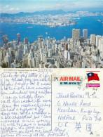View From Victoria Peak, Hong Kong Postcard Posted 1991 TAIWAN Stamp - China (Hong Kong)