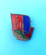 MONGOLIA - Vintage Communist Enamel Pin Badge - Badges & Ribbons