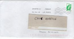 """2016-tp Adhésif """"Marianne De Beaujard 20g """"seul Sur Lettre-cachet Nouvelle Toshiba - Marcophilie (Lettres)"""