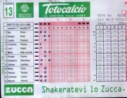 TOTOCALCIO - PARTITE DEL 8-11-1998 - Non Classificati