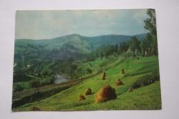 Ukraine, YAREMCHE Vorokhta Landscape W Railway (train)  - OLD USSR PC  1974 UNESCO HERITAGE Carpathians - Ukraine