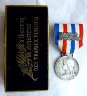 MEDAILLE D´HONNEUR DU Ministère Des TRAVAUX PUBLIQUE Chemins De Fer 1936 Bronze Argenté Avec Boîte - Graveur O Roty - Francia