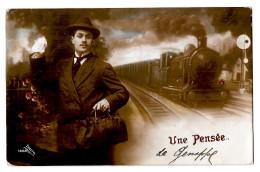 Une Pensée De Genappe (baisy Thy) Rare Train Locomotive Voyageur Cachet Stamp Rectangulaire Braine L'alleud Eigenbrakel - Genappe