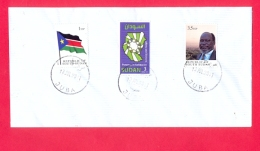 SOUTH SUDAN Cover W/ Mixed Postage South Sudan 1st Set And 3 SDG Sudan Stamp, Postmark Juba 13 July 2011 !RARE - Zuid-Soedan