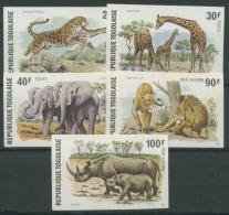Togo 1974 Wildtiere Nashorn Elefant Löwe Giraffe 1061/65 B Postfrisch - Togo (1960-...)