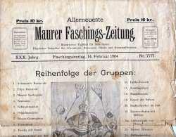 MAURER FASCHINGSZEITUNG Ausgabe Am 14.Feb 1904, Stark Gebrauchter Zustand, 4 Seiten, Größe Ca.40 X 27 Cm, Gefaltet - Sonstige
