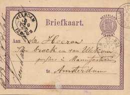 NIEDERLANDE 1873 - 2,5 C Ganzsache Auf Pk Gel.v.Veendam > Amsterdam - 1852-1890 (Wilhelm III.)