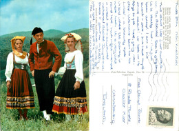 Folklore Costumes, Krk, Croatia Postcard Posted 1970 Stamp - Croatia
