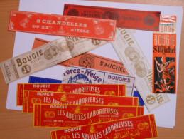 P041 - Lot De 12 étiquettes Anciennes Différentes Thème Bougies Chandelles - Denis à Clisson Cugand St Michel Fournier - Andere