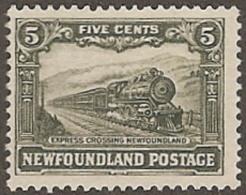 Newfoundland,  Scott 2016 # 167,  Issued 1921,  Single,  MNH,  Cat $ 7.50,   Trains - Neufundland