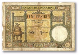 FRENCH INDO-CHINA - 100 PIASTRES - Sign. 9 ( 1936 - 39 ) - P 51.d - BIG SIZE ( 214 X 144 ) Mm - Banque De L´ Indochine - Indocina
