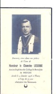 PAS DE CALAIS - 62 - FRUGES - FLEURY- Carte Mortuaire Chanoine Lesenne - 1956 - Fruges