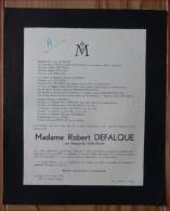 GENAPPE DEFALQUE ROBERT  Mme NEE SEBILLEAUD 1892-1950 - Décès