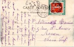 """Porte Timbre, Timbres, Sur Carte """"Menthe Pastille"""" Posté En 1908 D' Enghien Les Bains  2 Scan - Marcophilie (Lettres)"""