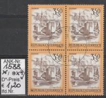 """4.9.1978 - FM/DM """"Schönes Österreich"""" S 3,50 Gelborange  - 4 X O Gestempelt  - Siehe Scan (1588o X4) - 1971-80 Usados"""