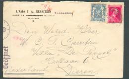 Lettre Censurée Affr; LEOPOLD III Col Fermé + Lion Obl. Sc LESSINES Du 14-2-1942 + Griffe Violette De WANNEBECQ Vers Die - Guerre 40-45