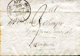 APT, Càd Type 11 Du 20 Août 1830 Pour Avignon, Taxe 9 Décimes - Marcophilie (Lettres)