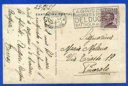 """ANNULLO MECCANICO A TARGHETTA """"AGRICOLTORI RACCOGLIETE IL COMANDAMENTO DEL DUCE..."""" - 1900-44 Vittorio Emanuele III"""