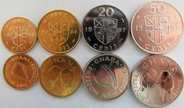 Ghana Set Of 4 Coins 1984-1999 (1+5+20+50 Cedis) UNC - Ghana