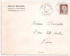 Cachet Tireté, TRESQUES Gard Sur Enveloppe. 1961. - Marcophilie (Lettres)