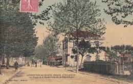 33 ANDERNOS Les BAINS  Belle CPA Toilée Couleur  BASSIN D' ARCACHON Boulevard Animé Bureau De  POSTE Timbre 1907 - Andernos-les-Bains