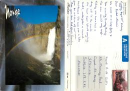 Waterfall, Voringfossen, Norway Postcard Posted 2004 Stamp - Norvegia