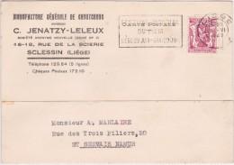 711 - CARTE De LIEGE à SAINT SERVAIS / NAMUR  En-tête MANUFACTURE De CAOUTCHOUC - JENATZY. Sclessin - 1935-1949 Klein Staatswapen