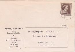 N° 1005 - LEOPOLD III. CARTE De THUIN à BRUX. - En-tête HENNUY Frères - DENREES COLONIALES 1954 - 1936-1957 Open Kraag