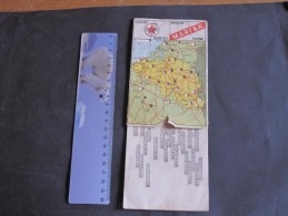 CALTEX - MARFAK - CARTE DE BELGIQUE 14/9cm Avec Glissière Pour Kilometrages Entre Villes.Au Dos: Stopomètre - Cartes Routières
