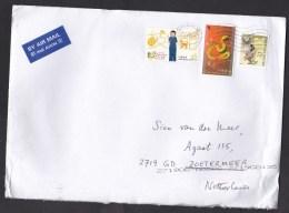 Hong Kong: Airmail Cover To Netherlands, 2016, 3 Stamps, Year Of Snake, Girl Guides, Owl, Bird (minor Creases) - 1997-... Speciale Bestuurlijke Regio Van China