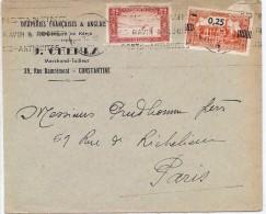 LBR36- ALGERIE LETTRE J. CHEMLA CONSTANTINE / PARIS MARS?/1939 TP SURCHARGE 12 BARRES AU LIEU DE 13 - Algerien (1924-1962)