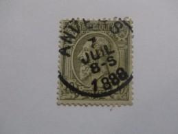 N°47,paire 20c Olive Sur Verdâtre,obl Anvers 07/07/1888 - 1884-1891 Leopoldo II
