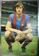 Vintage F.C. Barcelona Player Johan Cruyff Poster & Biography - 100 X 65 Cm. - Deportes