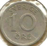 SWEDEN 10 ORE INSCRIPTIONS FRONT CROWN GV MONOGRAM BACK 1924 KM? READ DESCRIPTION CAREFULLY !!! - Suède
