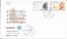 N° 2462 : 2463    EUROPA   TURQUIE     -   1985   -  FDC     THEME MUSIQUE - 1921-... Republic