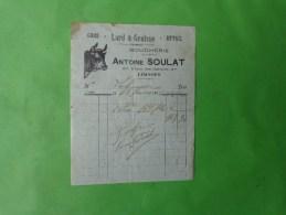 Facture Antoine Soulat Boucherie A Limoges -tete De Boeuf - Publicité