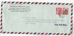 1973 Air Mail JAPAN COVER GEOLOGICAL SURVEY OF JAPAN  To Germany Stamps Geology - 1926-89 Emperor Hirohito (Showa Era)