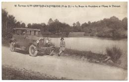 """Près De SAINT-GERVAIS-d'AUVERGNE (63) Route Des Gouttières Et Étang De Thévenet - Gros Plan Automobile """"MATHIS"""" - Saint Gervais D'Auvergne"""