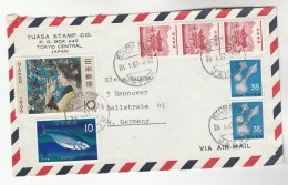 1967 Air Mail Koyabashi JAPAN COVER Stamps 10y PHILATELIC WEEK BUTTERFLIES 2x35y SQUID 10y FISH 3x 40y, Insect Butterfly - 1926-89 Emperor Hirohito (Showa Era)