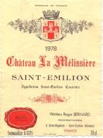 Etiket Etiquette Wijn Vins - Chateau La Mélissière - Saint Emilion 1978 - Labels