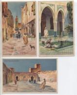 Illustrateur - LESSIEUX - Maroc: 3 Cartes De FEZ - Cie Gle Transatlantique - Lessieux