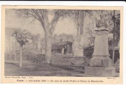 CAEN CALVADOS JUIN JUILLET 1944 APRES GUERRE UN COIN DU JARDIN PUBLIC ET STATUE DEMOLOMBE DELASSALLE N° 1005 - Caen