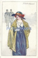 56104 ART ARTE SIGNED MAUZAN WOMAN WITH A HAT AND TWO SOLDIER POSTAL POSTCARD - Sonstige