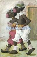 56131 ART ARTE COUPLE BLACK WALKING POSTAL POSTCARD - Schone Kunsten