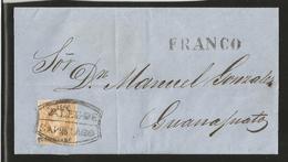 J)1866 MEXICO, 25C BUFF, QUERETARO CONS 03-1866 (ERROR FOR 33-1866)SUB 36. LARGE MARGINS, VALLE DE SANTIAGO & FRANCO SE - Mexico