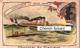 Chromo  CHOCOLAT DU PLANTEUR - Bateaux ; Le BLOCKHAUS  - Scans Recto-verso - Chocolat